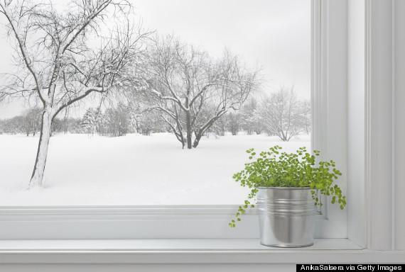winter weather outside window
