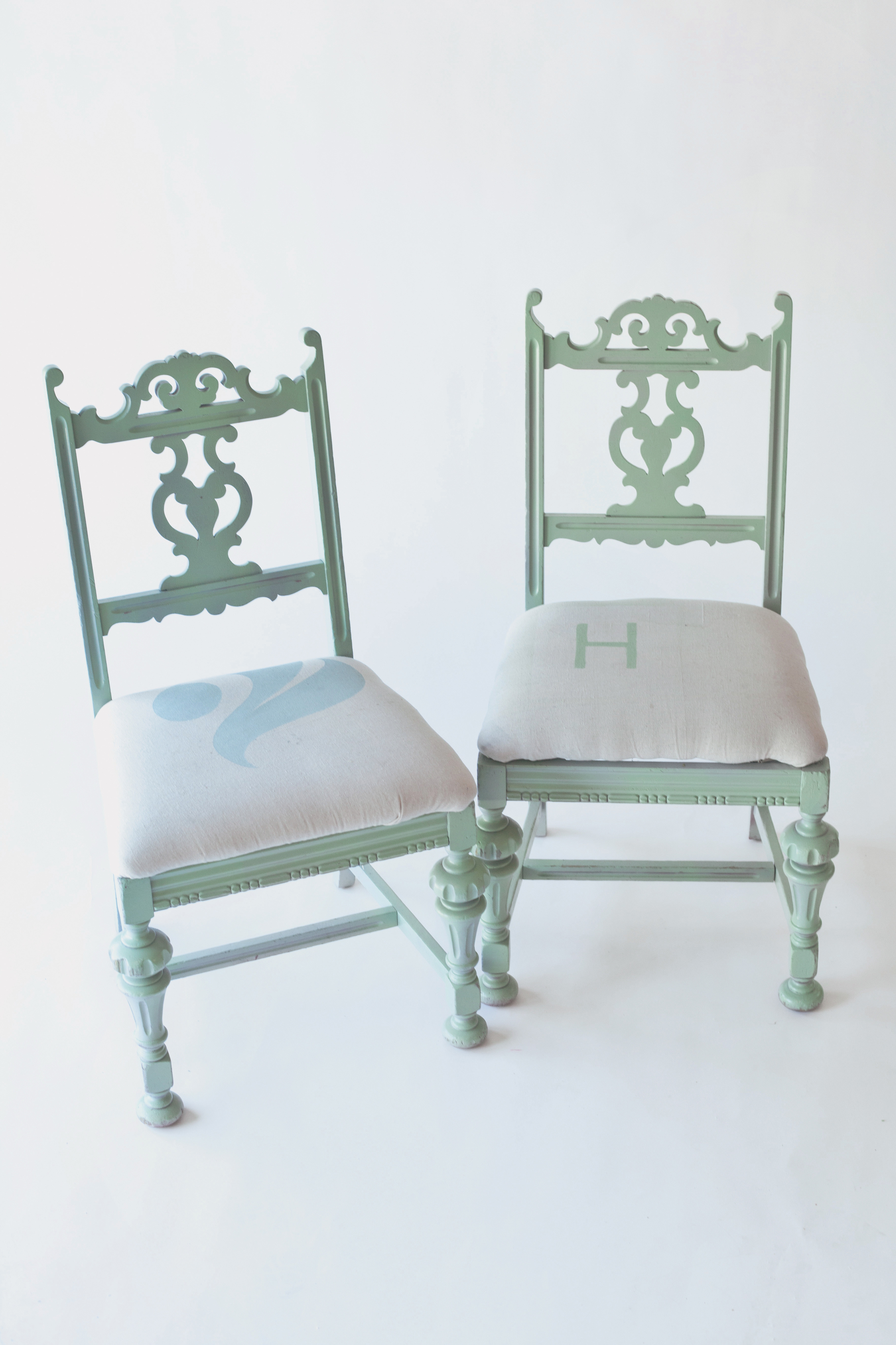 spray painted chairs