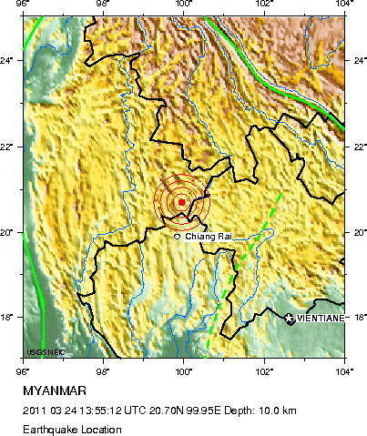 map of the earthquakes intensity from the usgs