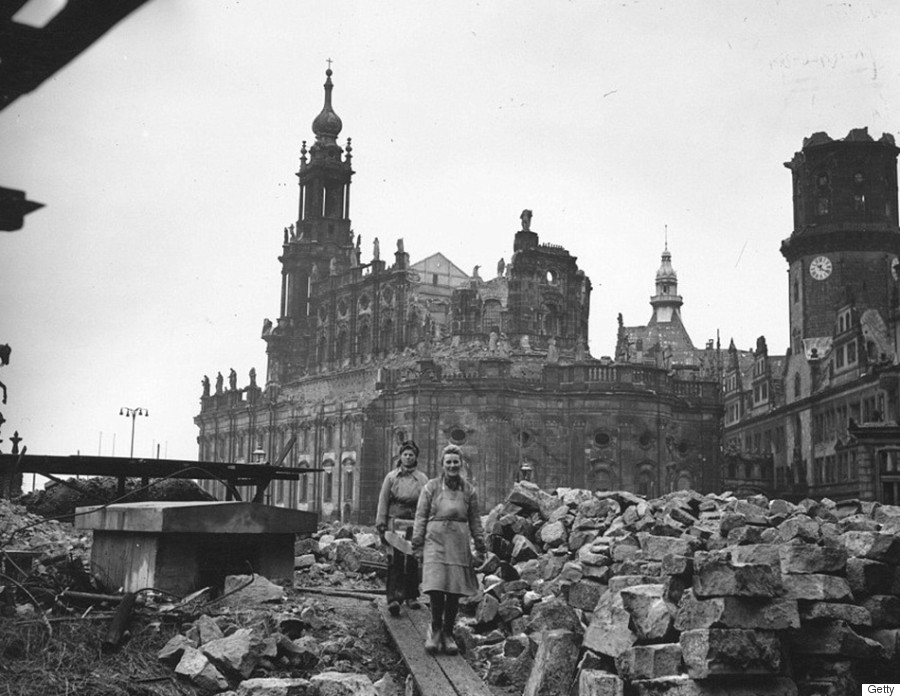 Dresden bombing anniversary photos contrast 1945 for Germany rebuilding after ww2