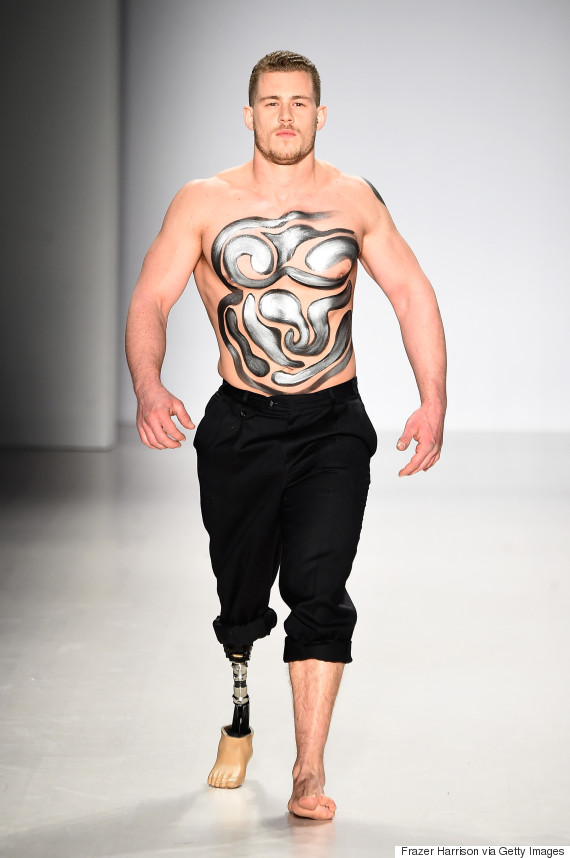 male amputee model walks in new york fashion week show