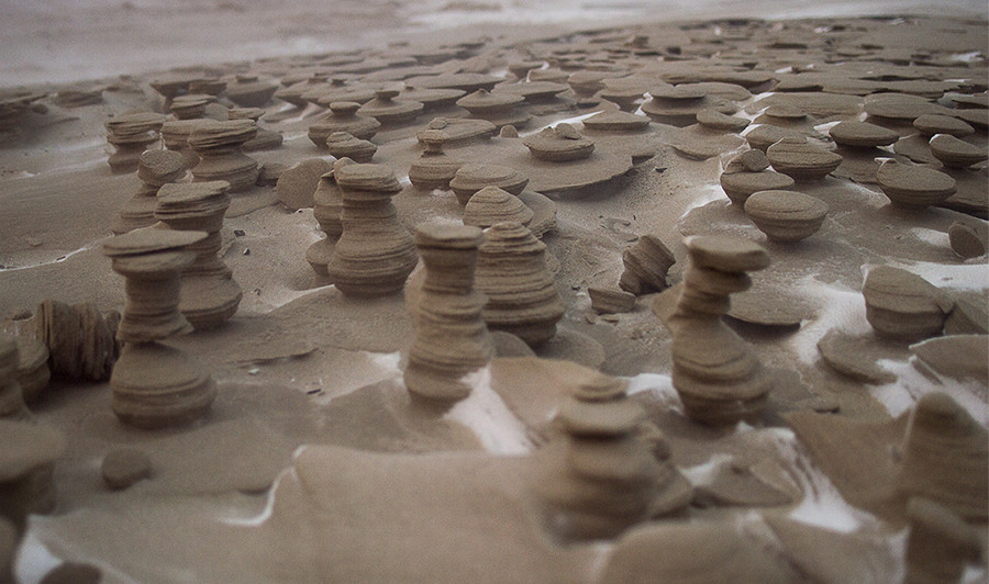 many sand sculptures