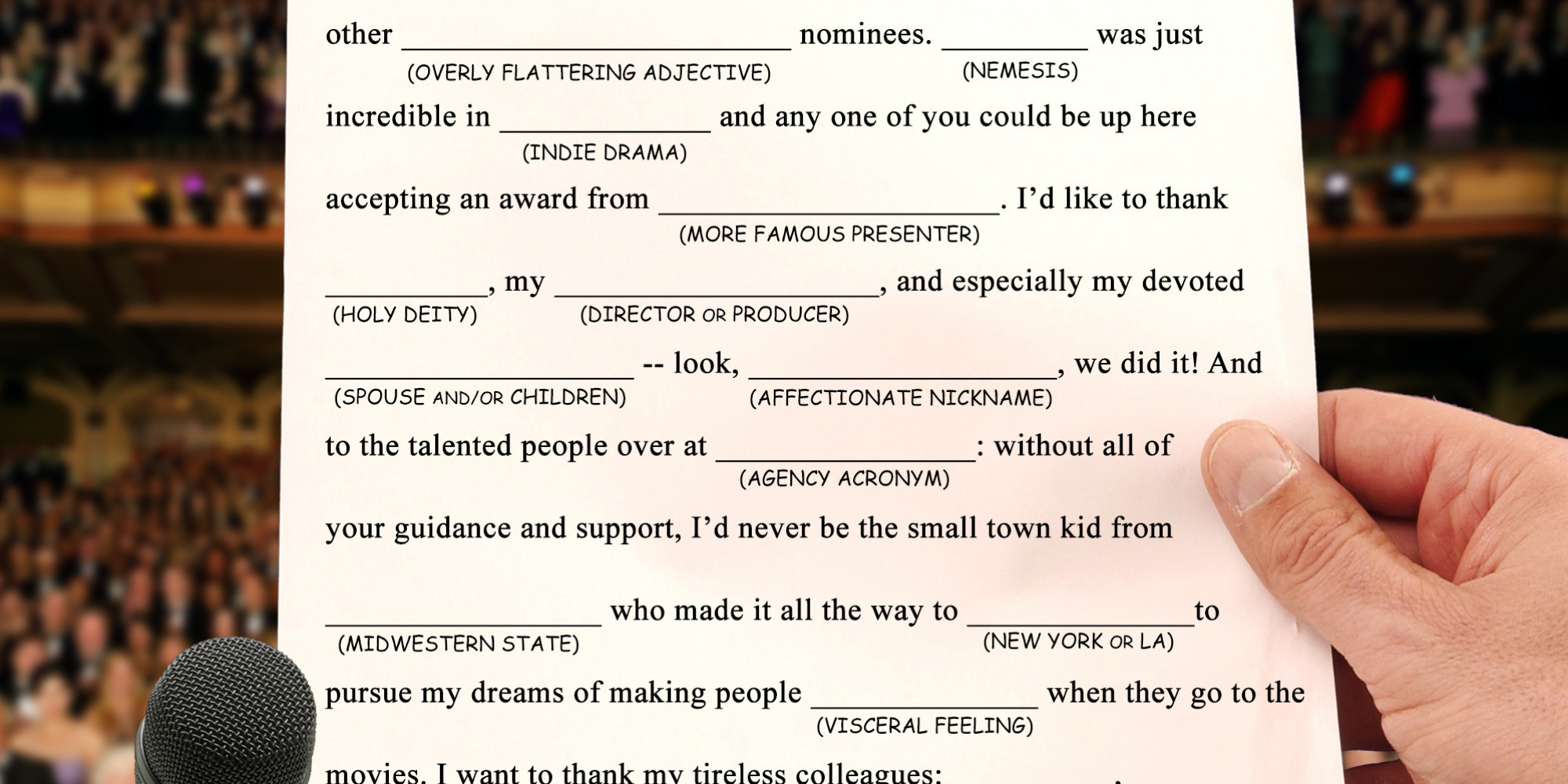 Let This Mad Lib Serve As Proof That All Oscar Acceptance Speeches ...