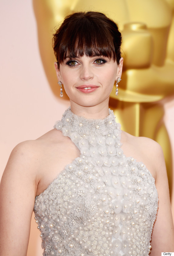 Felicity Jones\' Oscar Dress 2015 Is A Big Silver Ball Gown ...