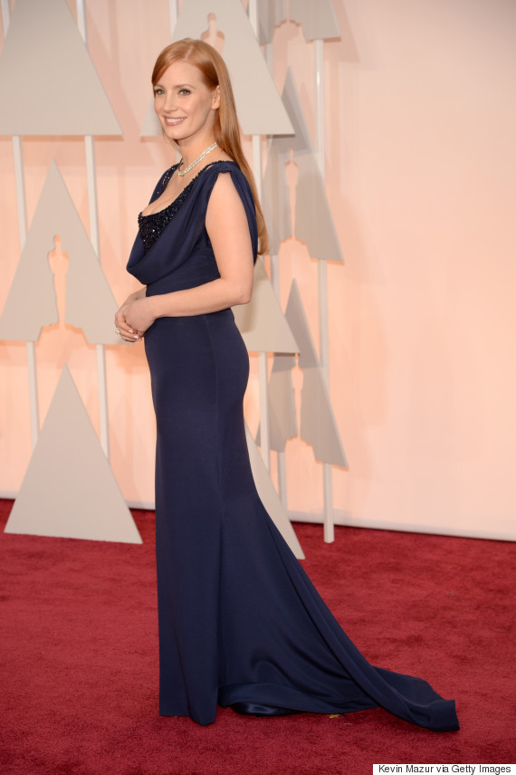 Jessica Chastain Is A Vision In Navy On The Oscars Red ...