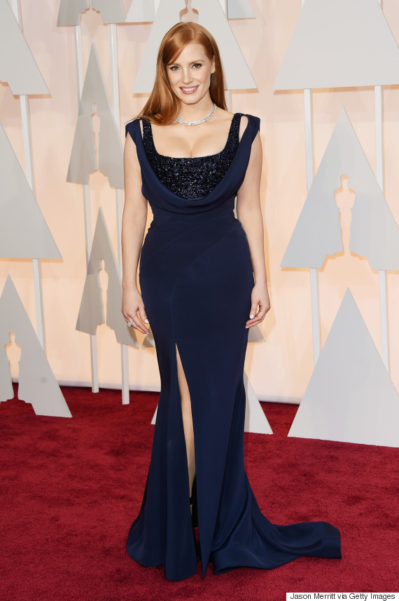Jessica Chastain Is A Vision In Navy On The Oscars Red Carpet ... Jessica Chastain