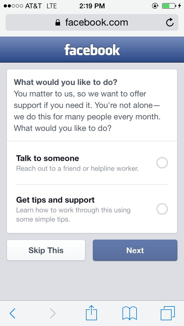 facebook suicide prevention