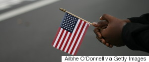 AFRICAN WITH US FLAG