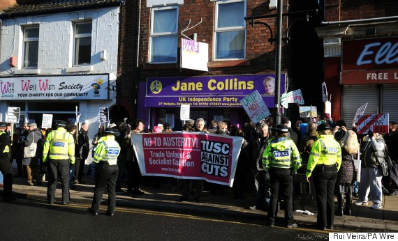 crowds gather outside the ukip office in rotherham