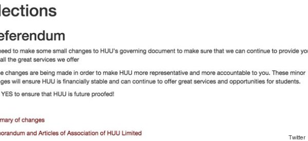 Hull's Student Union Asks Students To Vote In Referendum, Then Tells Them What To Vote For.