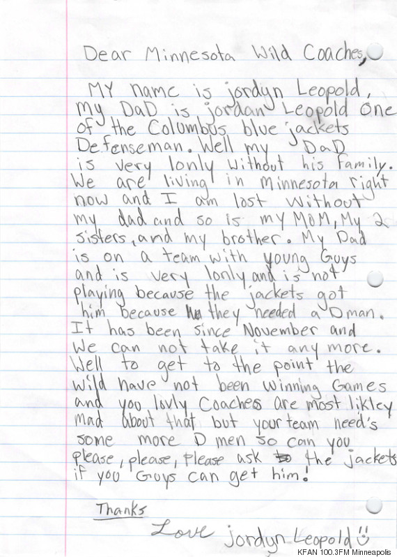 11 Year Old Writes Letter Asking NHL Coaches To Bring Her Dad Home