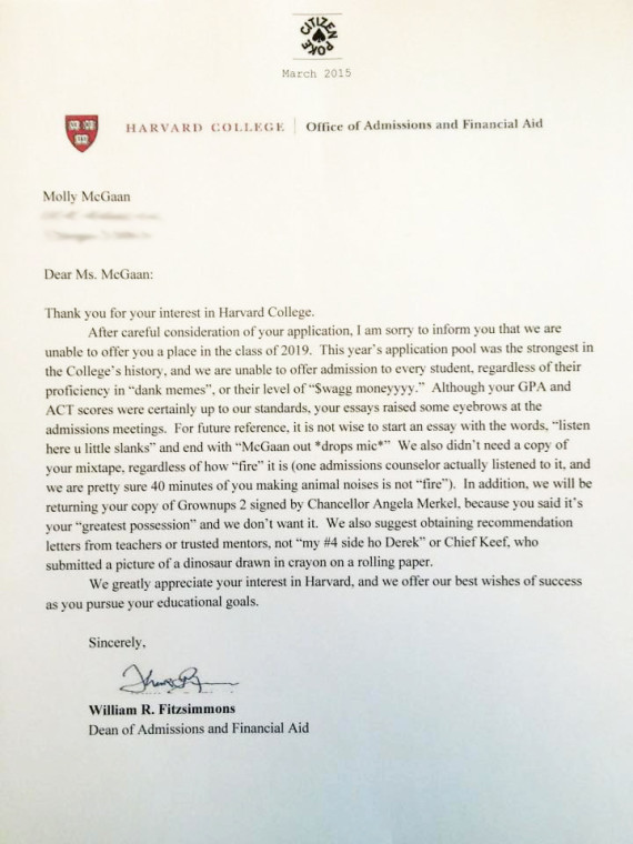 Somebody give this high schooler an award for her fake harvard fake harvard rejection letter altavistaventures Images