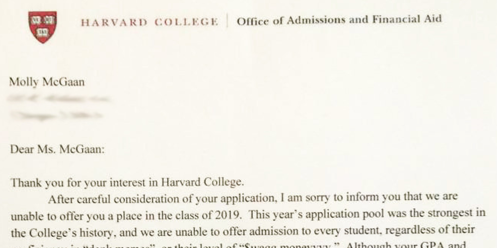 college rejection letter somebody give this high schooler an award for 20902