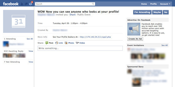 facebook scam fake event invitation claims to show who viewed, party invitations