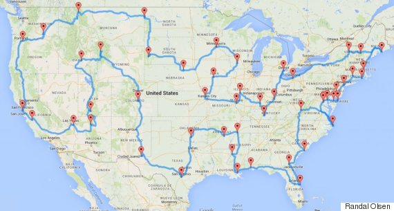 One Guy Figured Out How To Plan The Best Road Trip Ever Huffpost: Trip Planner Usa Map At Codeve.org