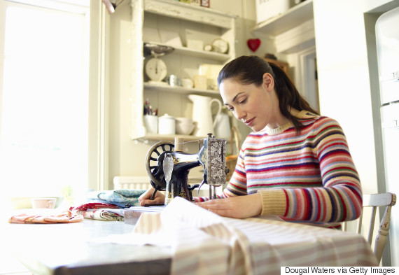 woman crafts at home
