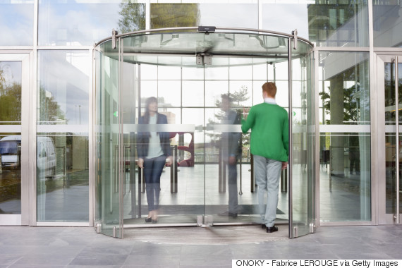 man revolving door