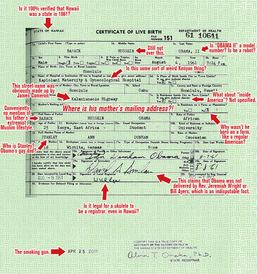 Obamas Birth Certificate Through The Eyes Of A Birther Picture