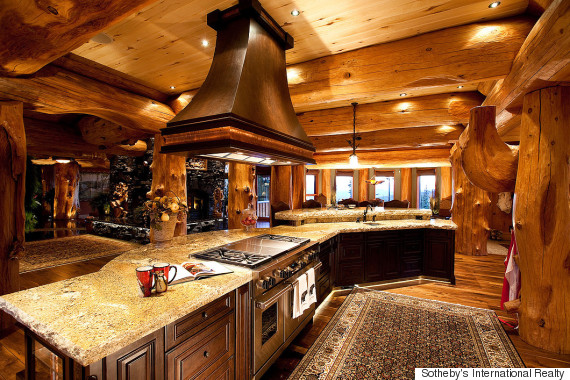 big white log cabin kitchen