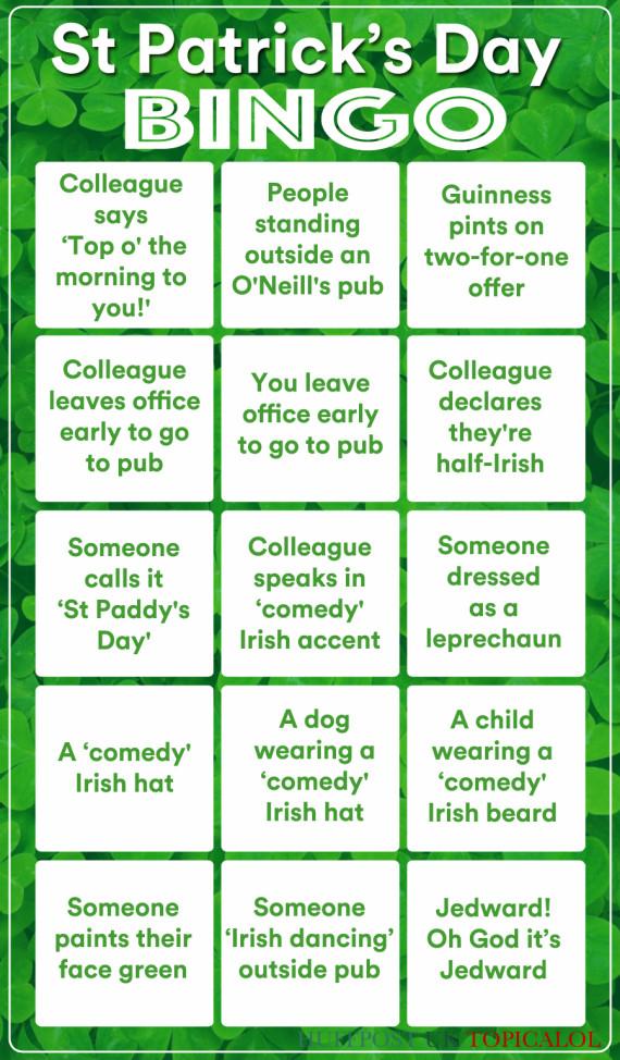 st patricks day bingo card