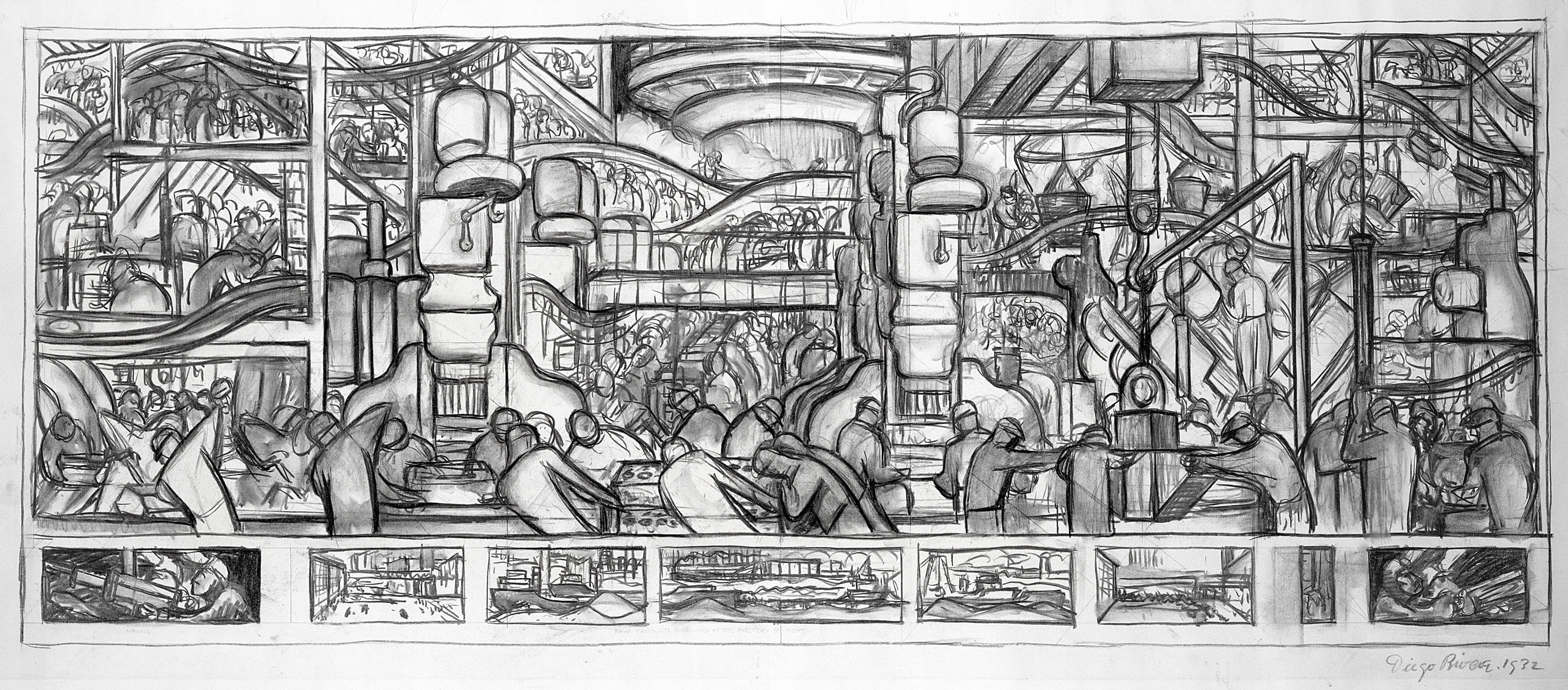 A rare look at how diego rivera turned sketches into his for Diego rivera detroit mural