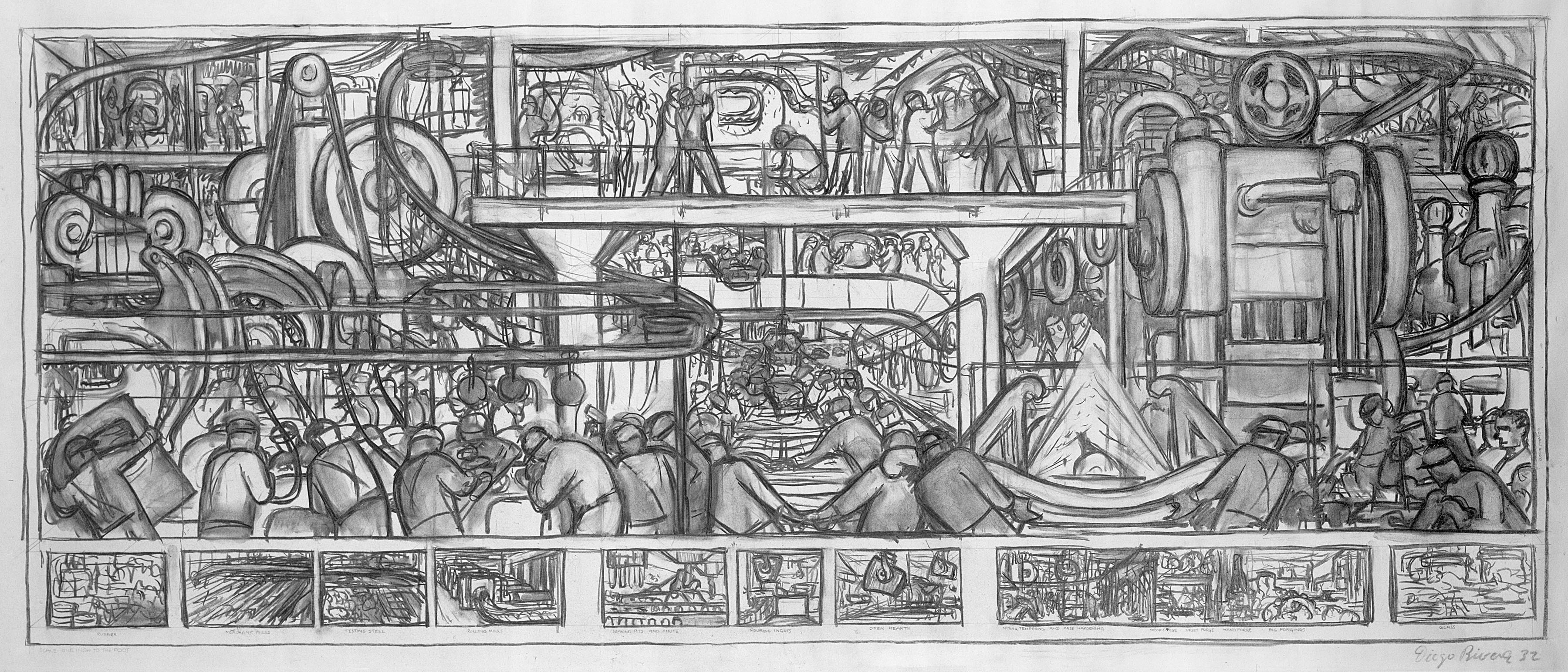 Line Art Mural : A rare look at how diego rivera turned sketches into his