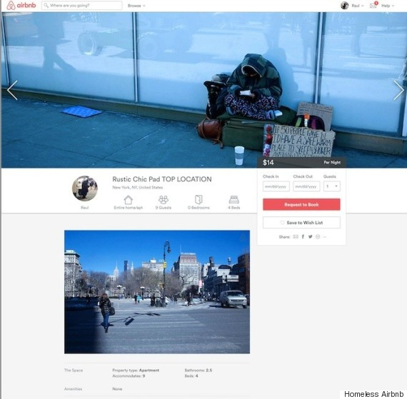 homeless airbnb