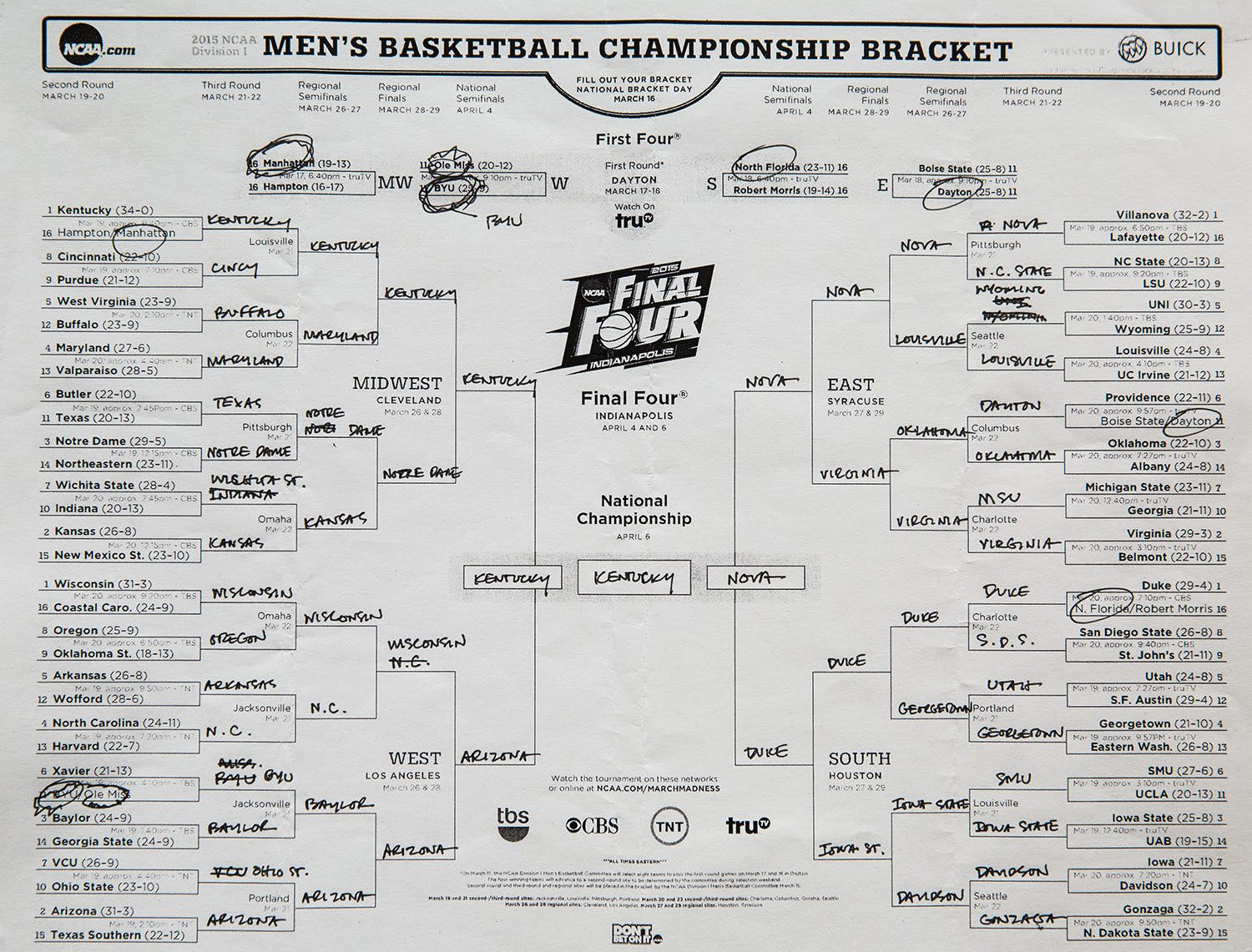 According to a version of the bracket published on the White House ...