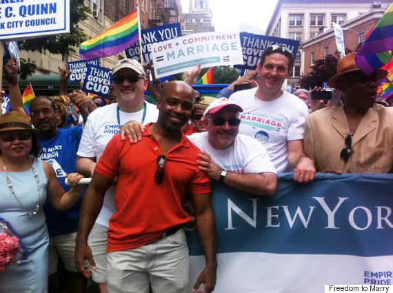 Evan Wolfson at the New York Pride Parade in 2011, with Alphonso David, counsel to New York Gov. Andrew Cuomo (D), and Marc Solomon, Freedom to Marry's national campaign director. The parade was the weekend after Cuomo signed the legislation legalizing same-sex marriage.