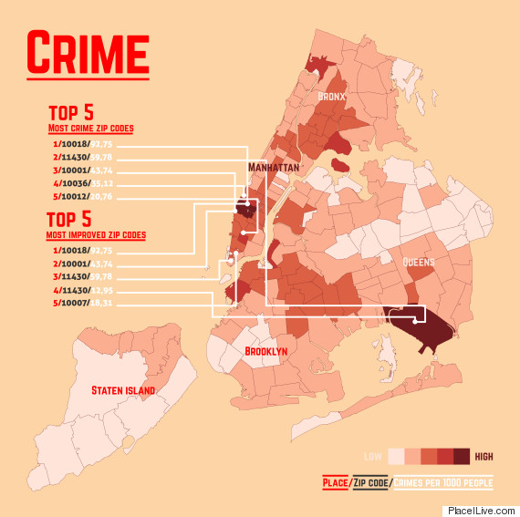16 Maps That'll Change How You See New York City | HuffPost New York Crime Map on