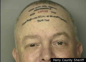 Assault Suspects Forehead Tattoo