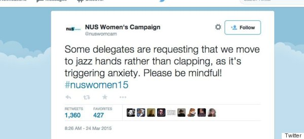 The NUS Told Its Student Delegates To Use Jazz Hands Instead Of Clapping - And Got Absolutely Rinsed