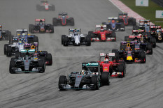 Mercedes driver Lewis Hamilton leads the field at the start of the Malaysian Grand Prix | Pic: PA