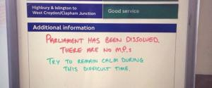 HOMERTON STATION FUNNY PARLIAMENT SIGN