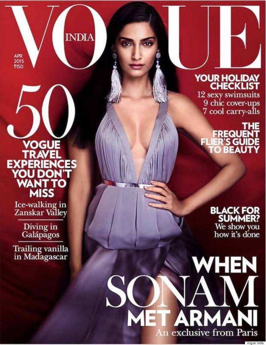 sonam kapoor looks regal in purple on the cover of vogue india