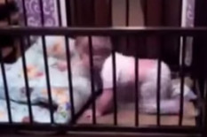 Baby escapes from cot | Pic: Youtube