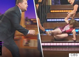 Katie Couric Pranks James Corden With Epic Fall