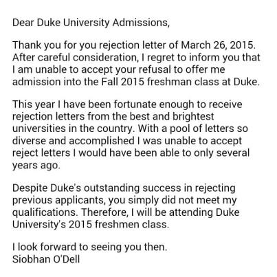 duke university letter