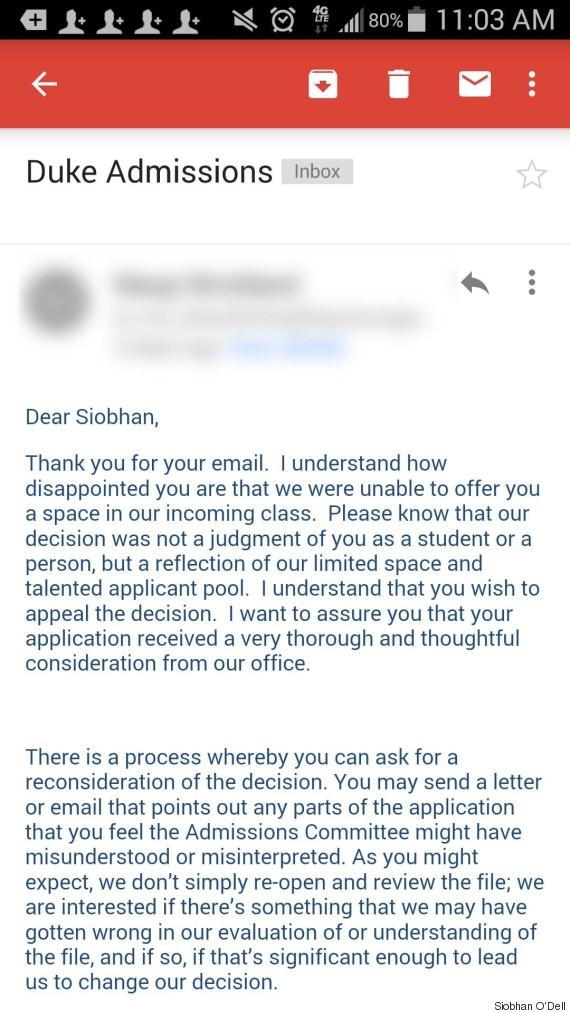 Duke University Responds To Teen's Viral Rejection Letter | HuffPost