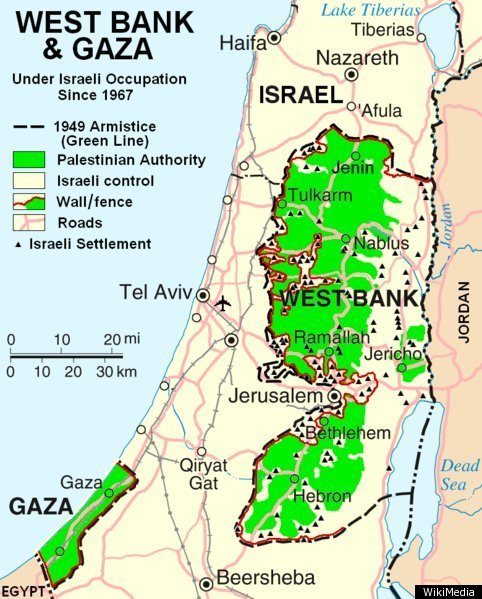 Israel map the palestinian regions changing borders huffpost a map of the current breakdown of authority in the israelpalestine region gumiabroncs Image collections