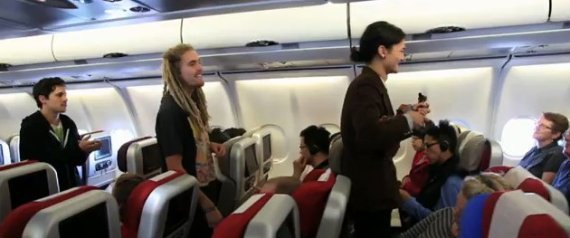 BAND PERFORMS IN FLIGHT