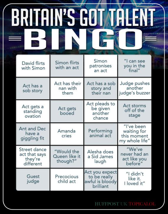 britains got talent bingo card