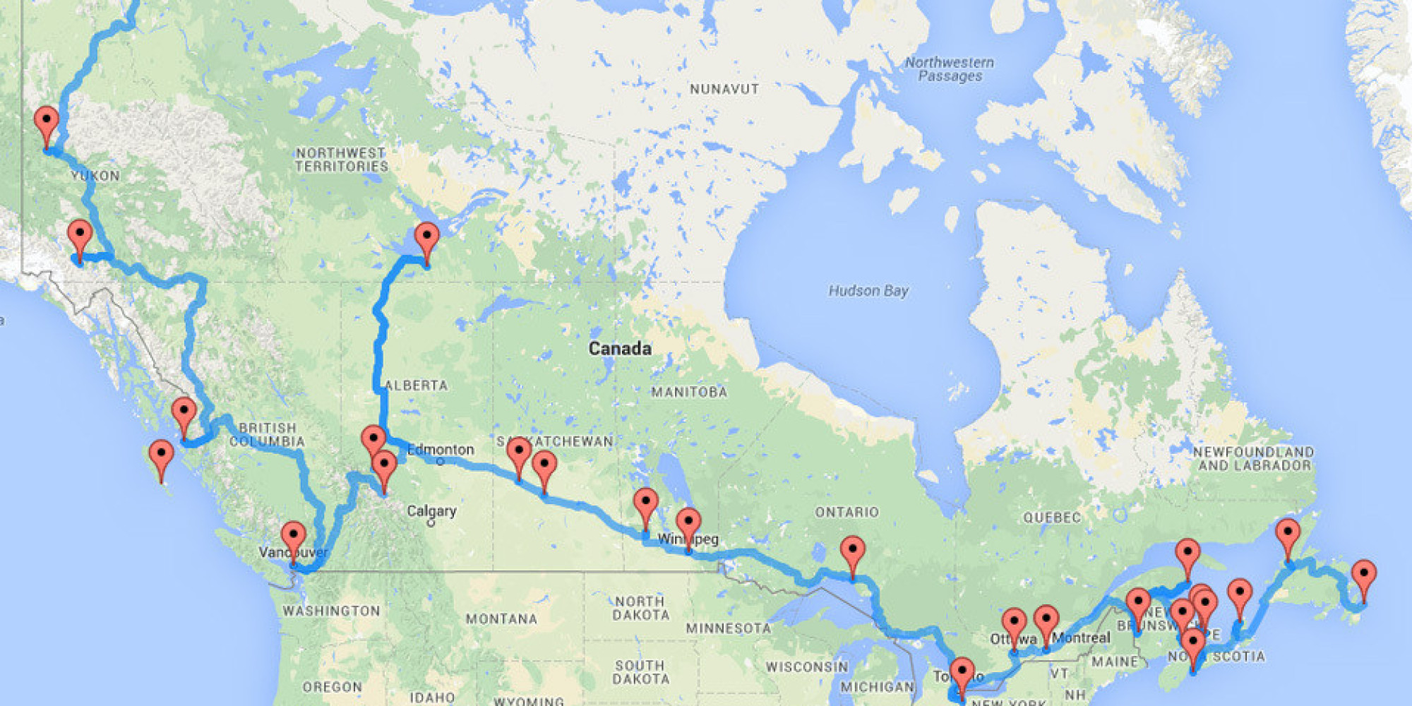 The Ultimate Canadian Road Trip As Determined By An Algorithm - Map of usa and canada east coast