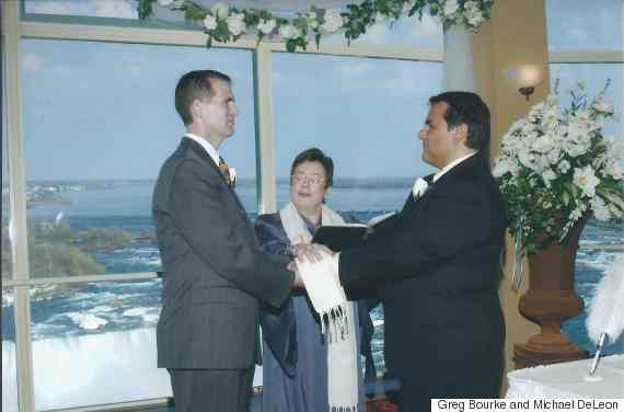 Greg Bourke and Michael DeLeon at their wedding in Niagara Falls, Canada, March 2004.
