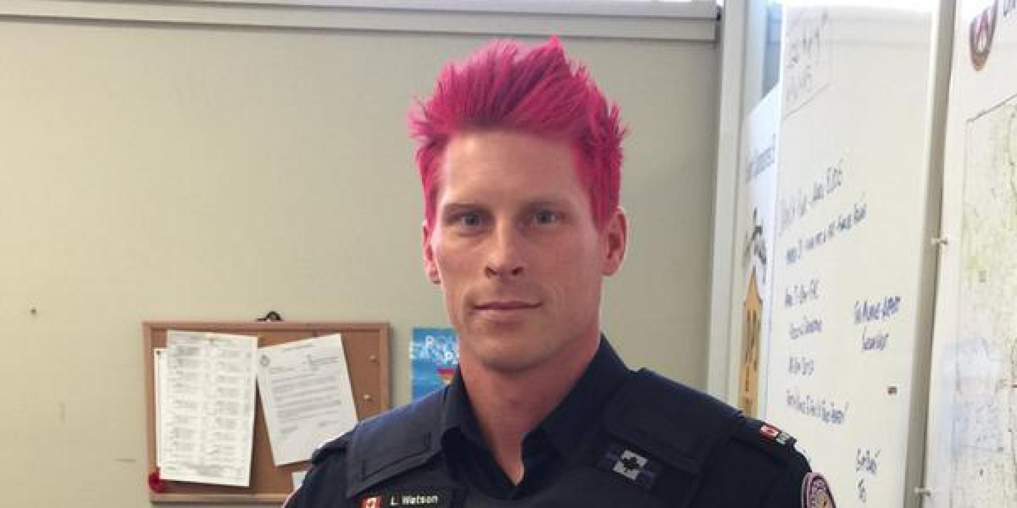 Toronto Cop Luke Watson Dyes His Hair Pink To Combat
