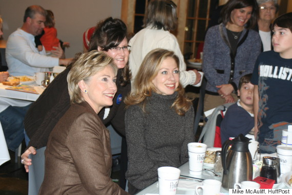 Hillary Clinton and her daughter, Chelsea, meeting with Iowans in 2007.