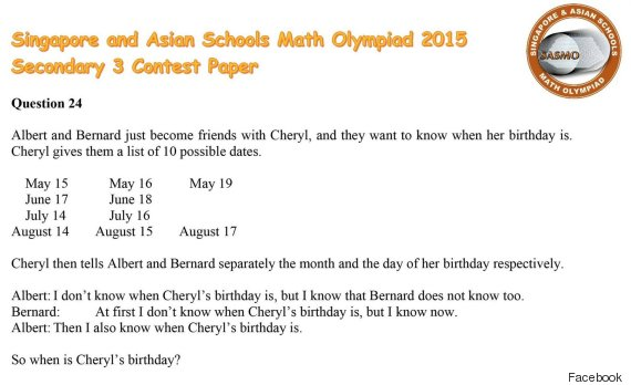When Is Cheryls Birthday? Maths Question Goes Viral
