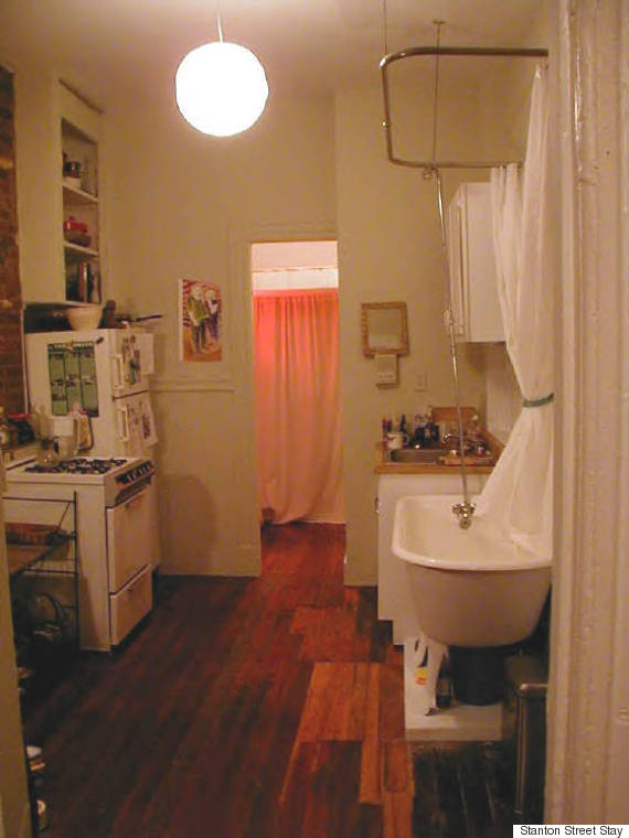 Nyc apartment comes with everything including a shower in the kitchen huffpost - Picture of bathroom ...