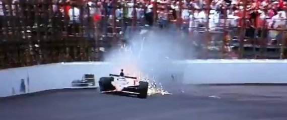 JR HILDEBRAND CRASH VIDEO INDY 500