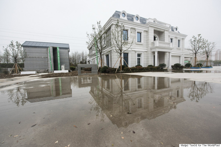 mansion and puddle